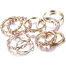 b890505838b886 10PCS Bohemian Retro Vintage Crystal Joint Knuckle Ring Sets Finger Rings