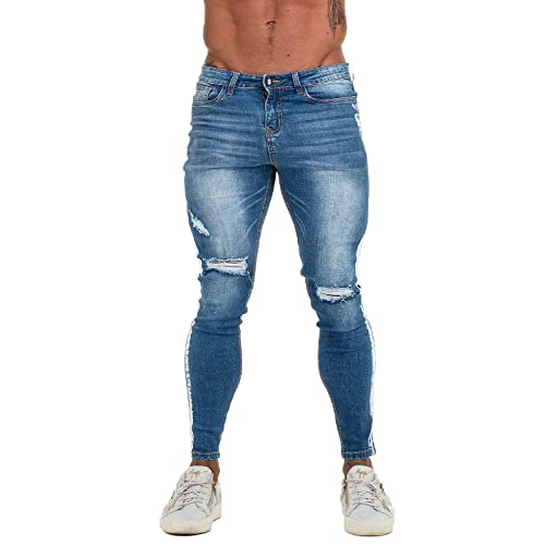 7ff4df2f Buy GINGTTO Men's Biker Jeans Skinny Ripped Stretch Denim Jeans ...