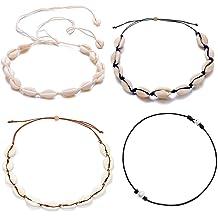 8703ccb9a ATIMIGO Natural Shell Choker Handmade Rope Pearl Hawaii Beach Necklace  Jewelry for Women Girls